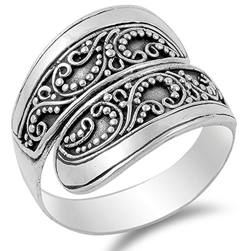Noureda Sterling Silver Antique Style Bali Ring with Filigree Vine Design, Face Height of 17MM (Stamp Style Sterling Silver Antique)