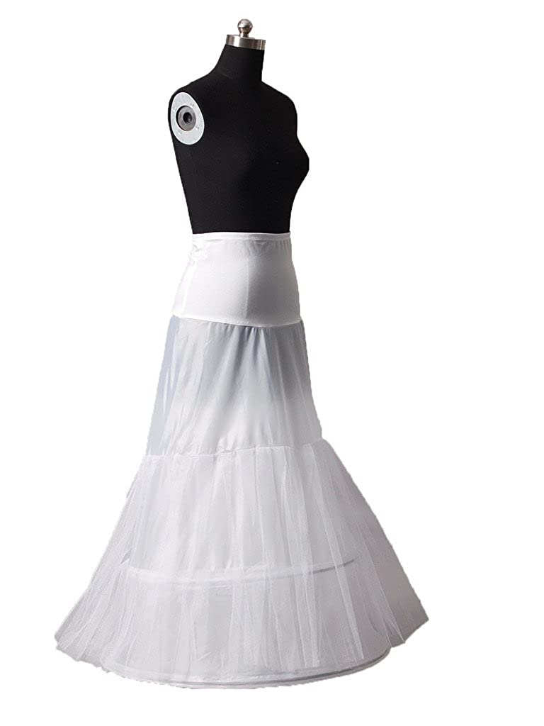 Snowskite Womens White Mermaid Wedding Dress Evening Gown Petticoat JKAC2006-1
