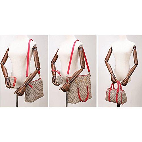 Petit Bandoulière Femme Grand Lot Sac Vintage Set Rouge À Adolescente Élégant Main Cabas Cuir Retro Sacoche IqYYn04P