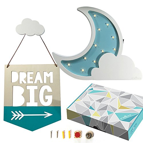 Cre8tivePick LED night lamp for kids marquee wooden moon cloud light, baby nursery decor night light, DIY wall mounted cloud hook, quotes on wood sign for kids room décor, wall hooks, kids table lamp (Moon Wood Sign)