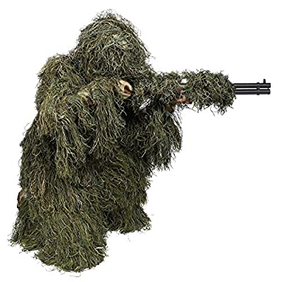 Weize Woodland Ghillie Suit 4 Piece 3D Camouflage Military Tactical Hunting Clothing