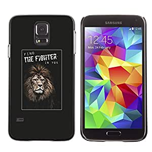 Planetar® ( Fighter Boxing Champion Lion Poster You ) SAMSUNG Galaxy S5 V / i9600 / SM-G900F / SM-G900M / SM-G900A / SM-G900T / SM-G900W8 Fundas Cover Cubre Hard Case Cover