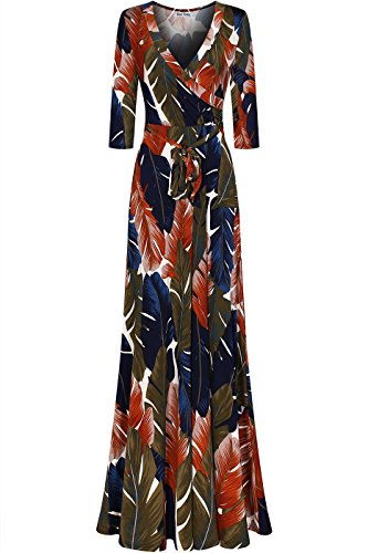 - Bon Rosy Women's Silky and Stretchy 3/4 Sleeve Deep V-Neck Floral Printed Maxi Faux Wrap Dress Navy Brown L