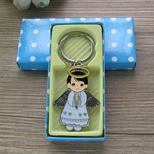 Angel Boy Keychain Favor (12PCS) Baptism/Recuerdos de Bautizo/First Communion/Primera Comunion llaveros/Gift for Guest ()