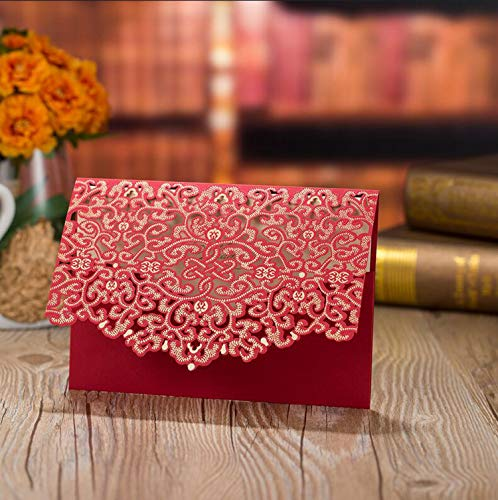 OUOK 1pcs Gold Red White Laser Cut Luxury