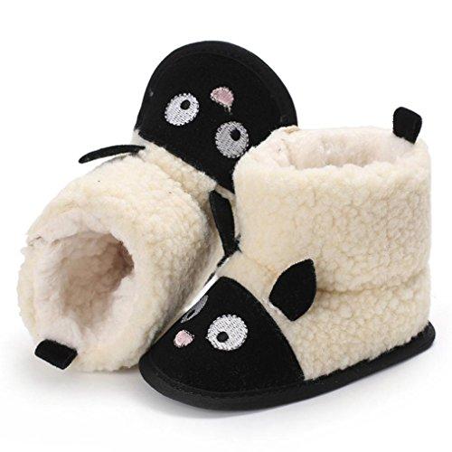 Omiky® Nette Junge Mädchen Baby Weiche Sohle Schneeschuhe Weiche Krippe Schuhe Kleinkind Stiefel Schwarz