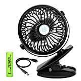 VERKB USB Mini Desk Fan, Chargeable Quiet Baby Stroller Fan with 2000mAh Battery and 720 Rotation, Small Clip on Table Fans for School Office Home Outdoor Activities (black)