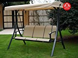Cheap Kozyard Brenda 3 Person Outdoor Patio Swing with Strong Weather Resistant Powder Coated Steel Frame and Textilence Seats(Beige)