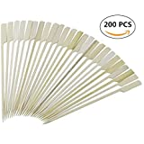 Aoboline Bamboo BBQ skewers, Natural 7 Inch Bamboo Wood Paddle Picks, for Outdoor Grilling,200 pcs/Bag