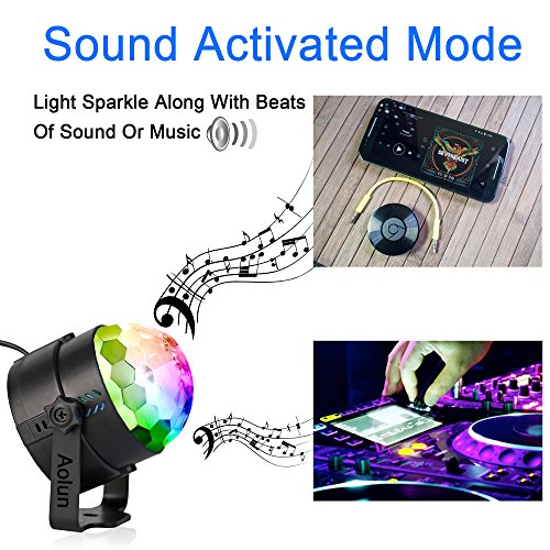 Disco Lights Sound Activated with Remote,Party Lights Disco Ball Light,Stage Lights-Multi Colors Rotating Magic LED Strobe Lights for Halloween,Xmas Parties,Room,Pool,Club,Home,Church,Karaoke,Wedding by Aolun (Image #2)
