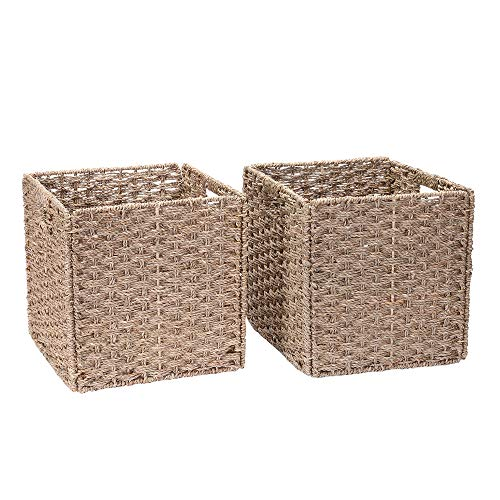Villacera 12-Inch Square Hand Weaved Wicker Storage Bin, Foldable Baskets made of Water Hyacinth | Set of 2 (Wicker Square 12 Baskets)