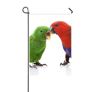 Garden Flag Couple Parrots Love Male Female White Background 12x18
