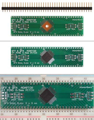 SchmartBoard|ez .5mm Pitch, 64 Pin QFP & QFN Adapter