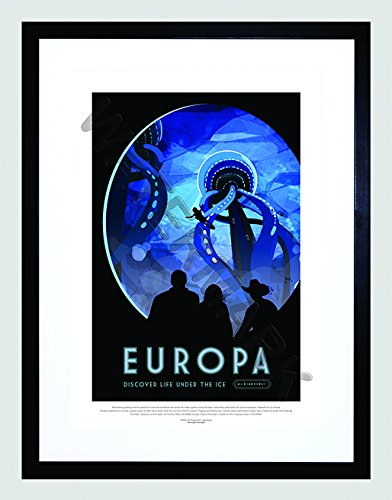 - Wee Blue Coo NASA Poster Space Travel Advert Europa 12x16 '' Framed Art Print F12X11825