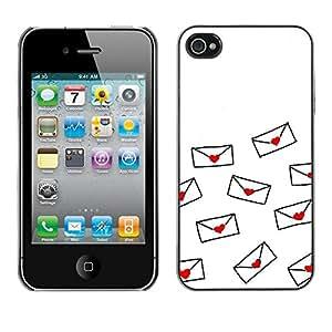 FECELL CITY // Duro Aluminio Pegatina PC Caso decorativo Funda Carcasa de Protección para Apple Iphone 4 / 4S // Love Letter Valentines Minimalist White