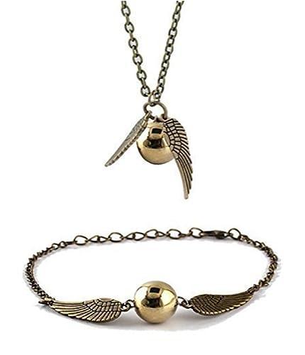 9eb5baaa5019 Chamber37 Bronce de Ángel Moderna con Perlas de imitación oro - Set de  Collar y Pulsera Tobillera  Amazon.es  Joyería