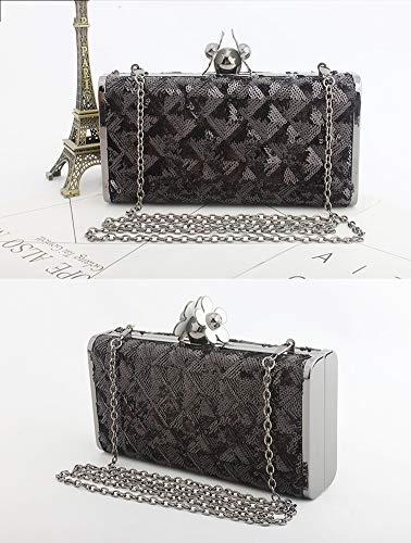 Mano De Bolso Mujer Embrague silver Noche Las Mujeres Lentejuelas Black Bolsos Clutch Billetera Bag vqd5v