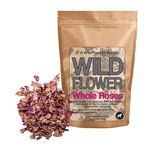 Pink Whole Roses, 100% Natural Dried Rose Flowers For Homemade Tea Blends, Potpourri, Bath Salts, Gifts, Crafts, Wild Flower #10 (4 ounce)