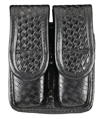 Tuff Products Double Magazine Pouch Slide on with Hidden Snap, Size 2, Black Basketweave