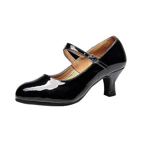Deloito Damen Mid High Heels modern Glitzer Pailletten