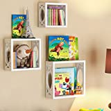 wall book display - Children's Square Cube Wall Shelves Set 3 Pcs - Display Kids Favorite Books, Photos, and More – Beautifully Carved Side Panels and Open Back Design (White)
