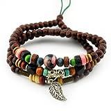 November's Chopin (TM) Unique Leaf Pendant Wood Beads Charm Adjustable Wrap Bracelet Necklace …