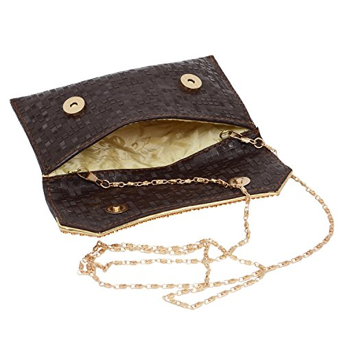Ethnic BagaHolics Party Girls Ladies Women's Gift Studded Brown for Purse Diamond Clutch f44wq