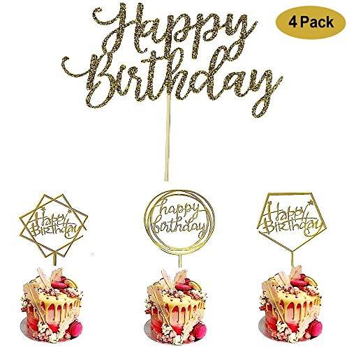 4 Pack Happy Birthday Cake Topper Acrylic, Birthday Cake Topper Birthday Decorations,1st First Happy Birthday Cupcake Topper, Glitter Gold Decoration (Happy Birthday Cake)