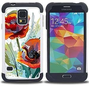 For Samsung Galaxy S5 I9600 G9009 G9008V - POPPY FLOWER WATERCOLOR ORANGE GREEN Dual Layer caso de Shell HUELGA Impacto pata de cabra con im??genes gr??ficas Steam - Funny Shop -