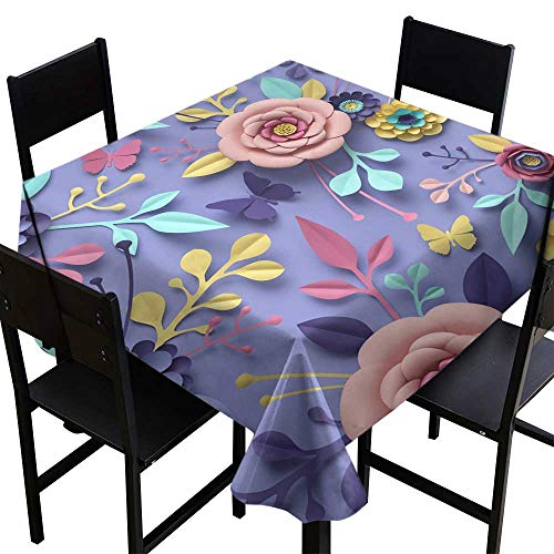 SKDSArts Oblong Tablecloth 3D Rendering Abstract Floral Background Paper Flowers Botanical Pattern papercraft Candy Pastel Colors Bright hue Palette,W50 x L50 for -
