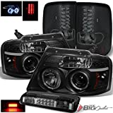 07 f150 smoked headlights - For 2004-2008 Ford F150/Lobo Black Smoke Halo Projector Headlights + LED Tail Lights + Smoked LED 3rd Brake Lamp 2005 06