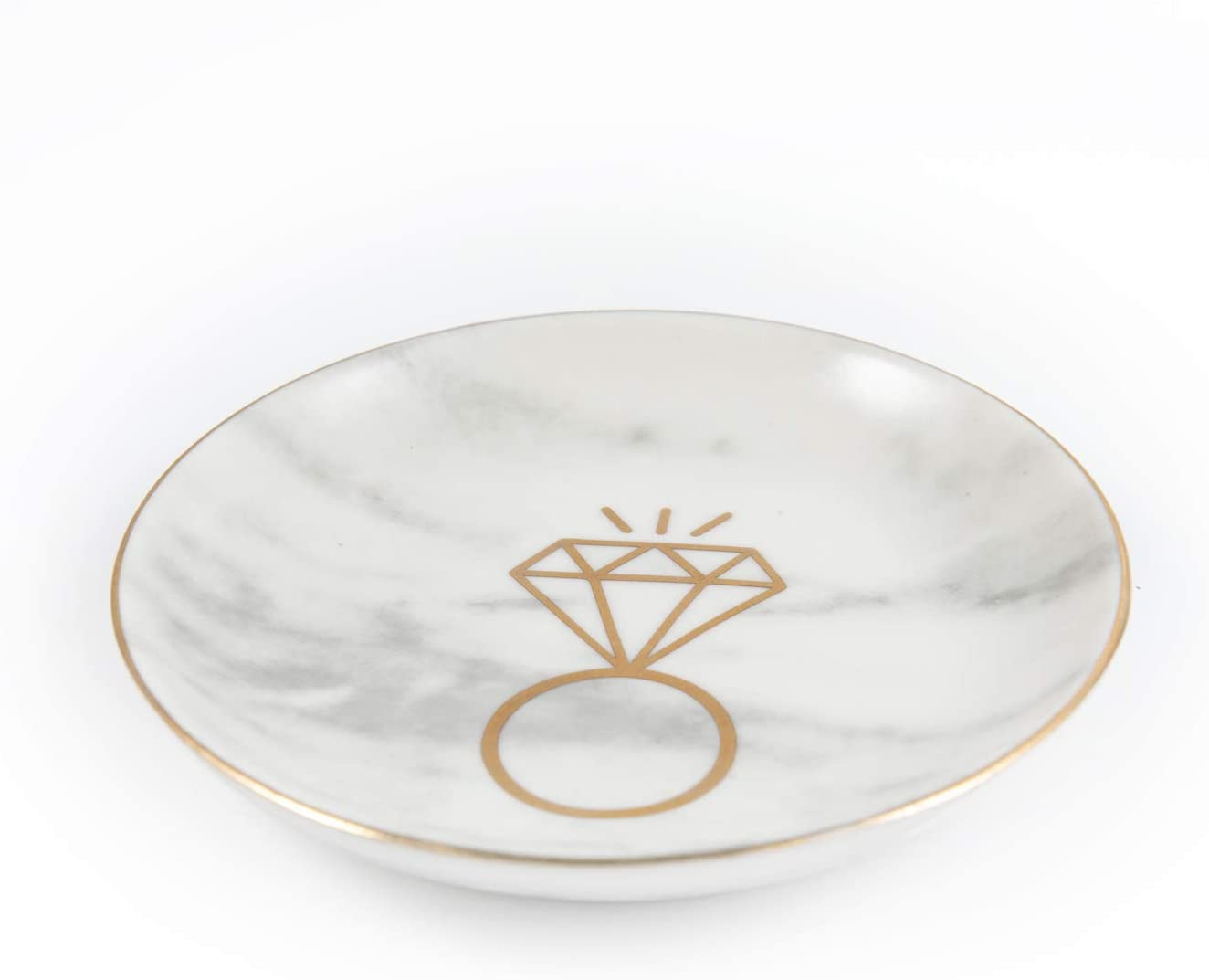 Marble Ceramic Ring Dish Jewelry Dish Ring Holder Jewelry Organizer with Golden Edged - Home Decor - Unique Wedding Gifts, Engagement Gifts, Bridal Shower Gifts, Anniversary Gifts for Women and Wife