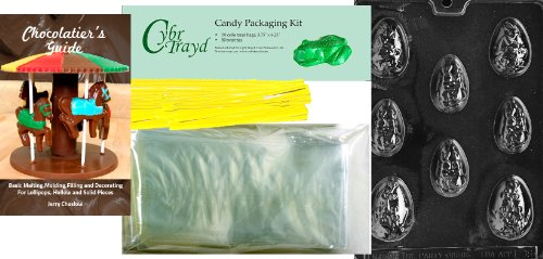 """Cybrtrayd """"4 Large Decorated Eggs"""" Easter Chocolate Candy Mo"""