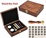 Luxury Vintage Alphabet Initial E Wood Gift Box Pack Engraved Wedding Invitation Classical Old-fashioned Antique Wax Seal Sealing Stamp Wax Sticks Melting Spoon Stamp Maker Gift Box Kit Set