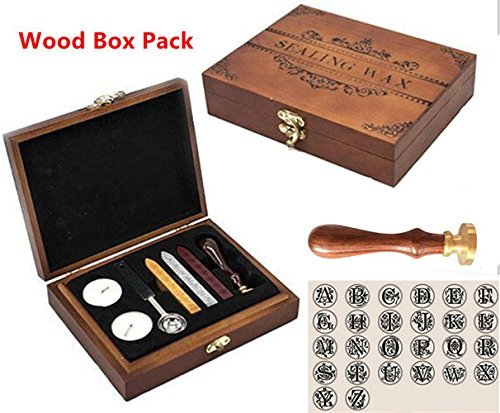 Luxury Vintage Alphabet Initial L Wood Gift Box Pack Engraved Wedding Invitation Classical Old-fashioned Antique Wax Seal Sealing Stamp Wax Sticks Melting Spoon Stamp Maker Gift Box Kit Set by MNYR (Image #1)