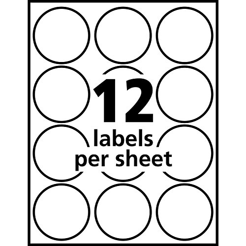 Avery round labels glossy white 2 inch size 180 labels for Avery round label sizes