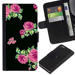 KingStore / Leather Etui en cuir / Apple Iphone 6 / Roses Vert Noir Tissu