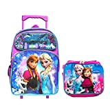 Disney Frozen School Backpack Book Bag with Matching Lunch Box Everyday Bag Travel Bag (Large 16' w/Roller)