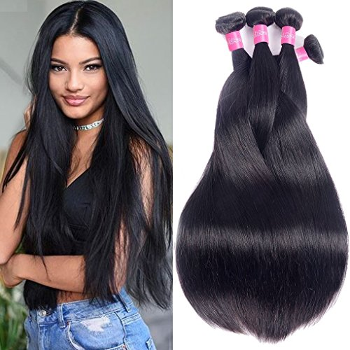Hair Straight Remy Human Hair Weave 4 Bundles 24 28 30 30Inch 100% Unprocessed Brazilian Straight Hair Bundles Natural Black Color Straight Hair Extensions ()