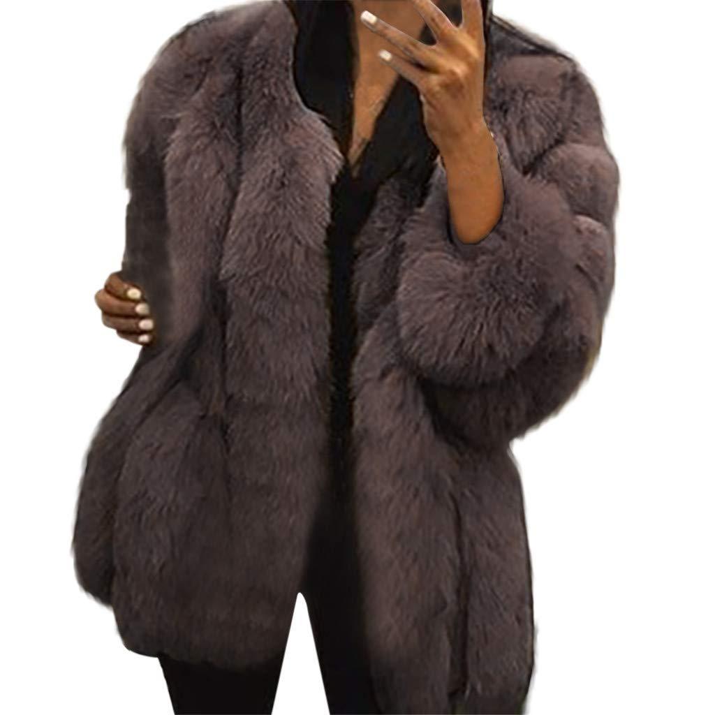 Shusuen Winter 2019 Women Long Trench Coat Faux Fur Loose Parka Jacket Outerwear Coffee by Shusuen