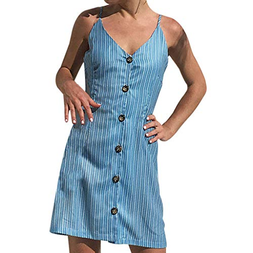 Casual Dress for Women Boho Backless Party Cocktail Mini Short Dress Beach Sundress CapsA Blue]()