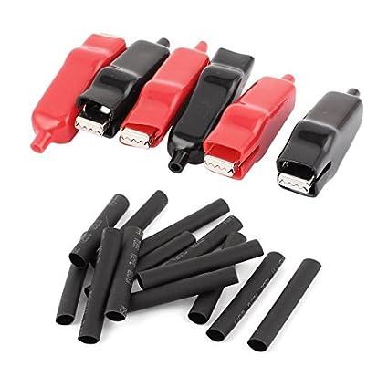 Clips eDealMax 6Pcs 30A Rojo Negro aislado bota plana boca de metal prueba del cocodrilo w