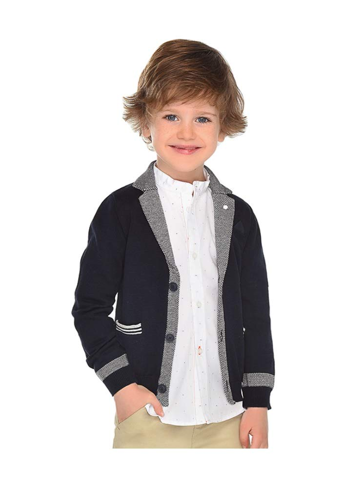 Mayoral Boys Knitted Formal Cardigan - Navy, 4T