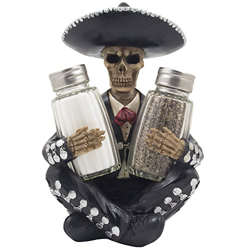 Dia de Los Muertos Mariachi Skeleton Salt and Pepper Shaker Set with Decorative Figurine Holder for Day of the Dead Mexican Festival Decor or Halloween Party Kitchen Table Decorations As Gothic Gifts -