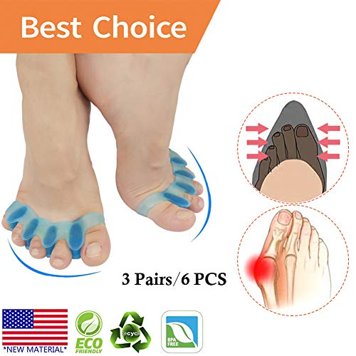 Bunion Corrector, Toe Separator, Bunion Relief Protectors *New Material* Gel & Silicone Hammer Toe Straightener, Toe Spacers, Toe Stretchers, for Men and Women, Fight Bunions, Hammer Toes & More!