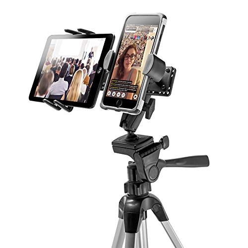 TW Broadcaster Combo - Midsize Tablet and Phone Tripod Mount Holder for Live Mobile Broadcasting by ARKON