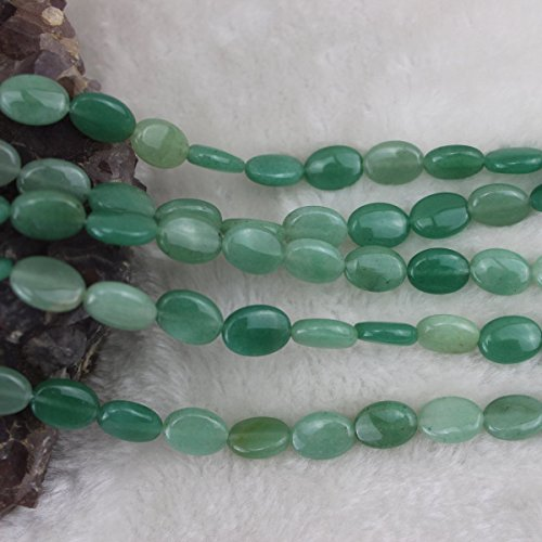 Green Oval Charm (10x14mm Oval Green Aventurine Jade Beads Loose Gemstone Beads for Jewelry Making Strand 15 Inch (1 x Screw Clasp)
