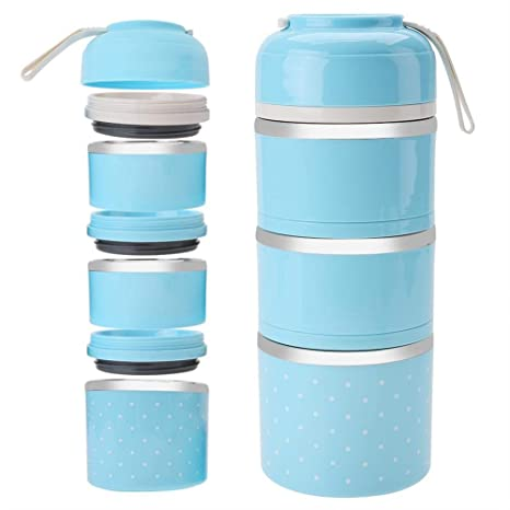 Fiambrera térmica acero inoxidable 3 capas, Caja de almuerzo de bento de acero inoxidable Contenedor aislado de almacenamiento de alimentos(Blue)