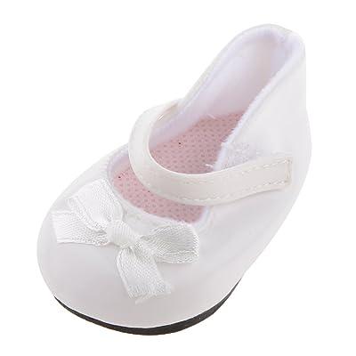 1 Par Zapatos Blanco Decoración para Muñecas Niñas Americanas Moda: Juguetes y juegos