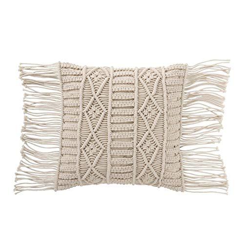 J-line - Cojín macramé de algodón, Color Crema: Amazon.es ...